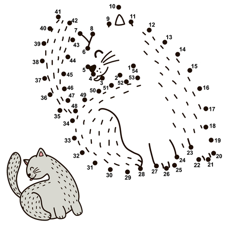 Numbers game for children. Connect the dots and draw a funny cat licking its back. Vector illustration
