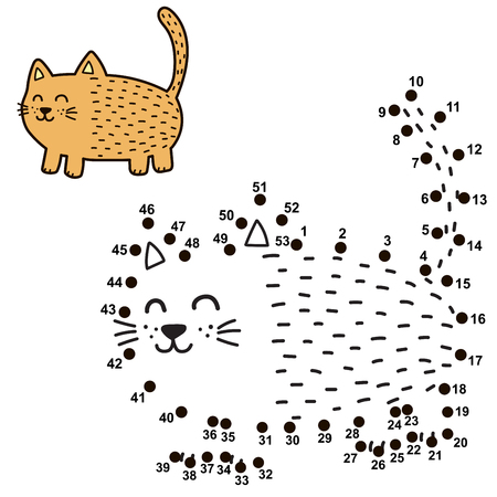 Connect the dots and draw a funny fat cat. Numbers game for children. Vector illustration Ilustrace