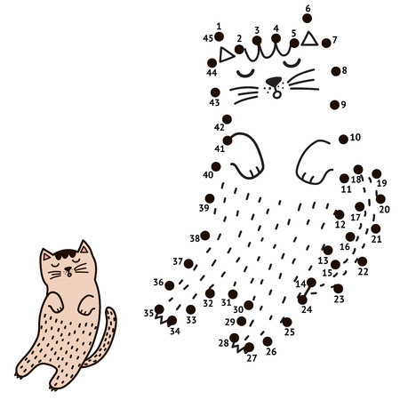 Connect the dots and draw a sleeping cat. Numbers game for children. Vector illustration