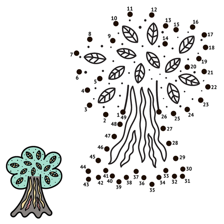 Connect the dots and draw a tree. Numbers game for children. Vector illustration