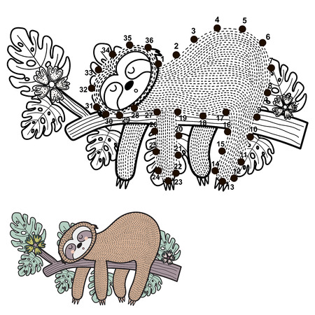 Connect the dots and draw a cute sloth. Numbers game for children. Vector illustration Ilustrace