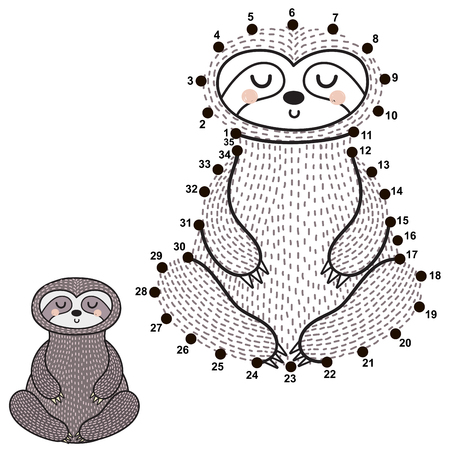 Connect the dots and draw a cute meditating sloth. Numbers game for children. Vector illustration