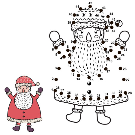 Connect the dots and draw a funny Santa Claus. Christmas numbers game for children. Vector illustration Ilustrace