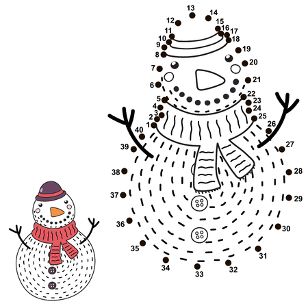 Connect the dots and draw a funny Snowman. Christmas numbers game for children. Vector illustration Ilustrace