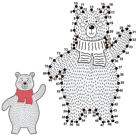 Connect the dots and draw a cute polar bear. Numbers game for children. Vector illustration Reklamní fotografie - 122049066