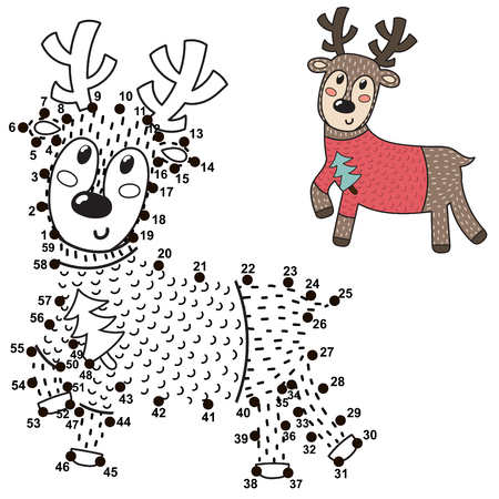 Connect the dots and draw a cute deer. Numbers game for children. Vector illustration Reklamní fotografie - 122049067