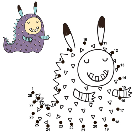 Connect the dots and draw a cute monster. Numbers game for children. Great for Halloween activities. Vector illustration Reklamní fotografie - 122049069