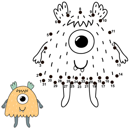 Connect the dots and draw a cute monster. Numbers game for children. Great for Halloween activities. Vector illustration Reklamní fotografie - 122049083