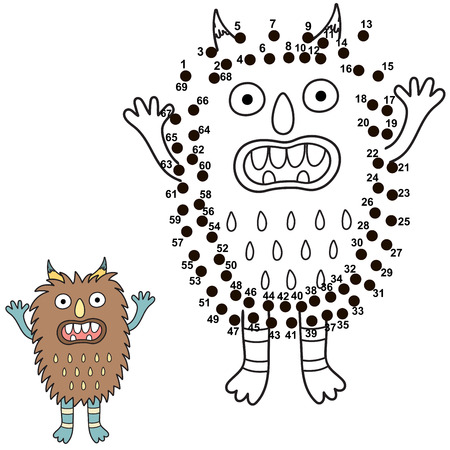 Connect the dots and draw a cute monster. Numbers game for children. Great for Halloween activities. Vector illustration Ilustrace