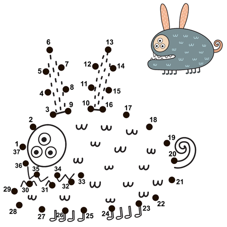 Connect the dots and draw a cute monster. Numbers game for children. Great for Halloween activities. Vector illustration Reklamní fotografie - 122049073