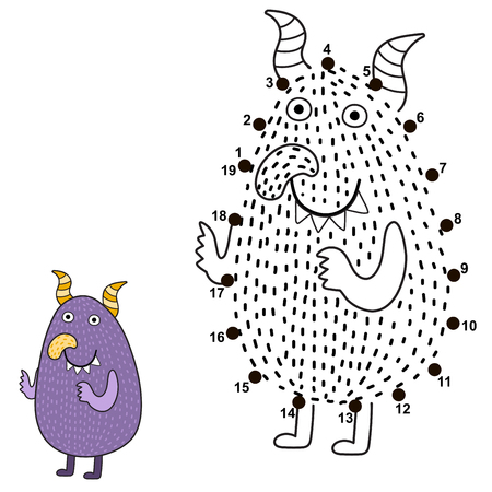 Connect the dots and draw a cute monster. Numbers game for children. Great for Halloween activities. Vector illustration Reklamní fotografie - 122049074