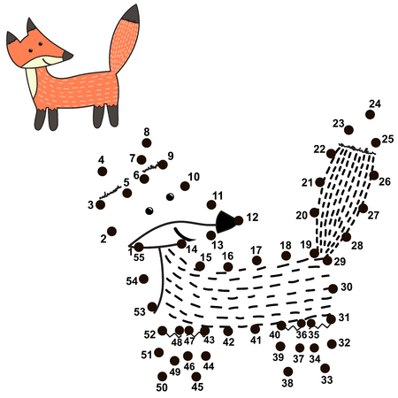 Connect the dots and draw a cute fox. Numbers game for children. Vector illustration Reklamní fotografie - 122049075