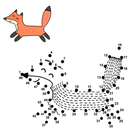 Connect the dots and draw a cute fox. Numbers game for children. Vector illustration Reklamní fotografie - 122049076