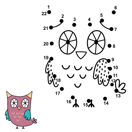 Connect the dots and draw a cute owl. Numbers game for children. Vector illustration