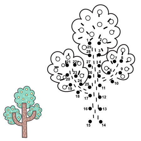 Connect the dots and draw a tree. Numbers game for children. Vector illustration Reklamní fotografie - 122049078