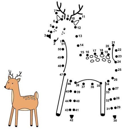 Connect the dots and draw a cute deer. Numbers game for children. Vector illustration