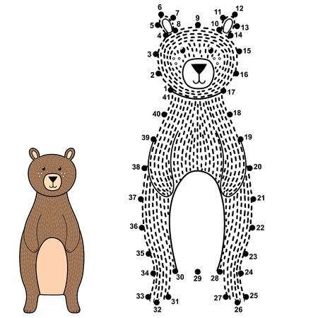 Connect the dots and draw a cute bear. Numbers game for children. Vector illustration