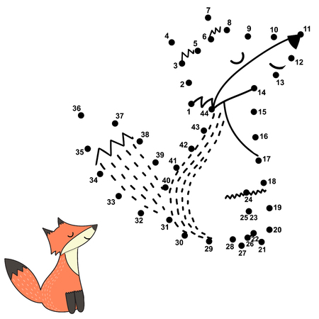 Numbers game for children - dot to dot activity. Cute fox. Vector illustration Çizim