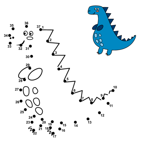 Connect the dots and draw a cute dinosaur. Numbers game for children. Vector illustration Reklamní fotografie - 122049097