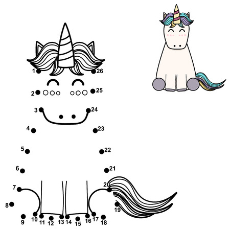 Connect the dots and draw a cute unicorn. Numbers game for children. Vector illustration