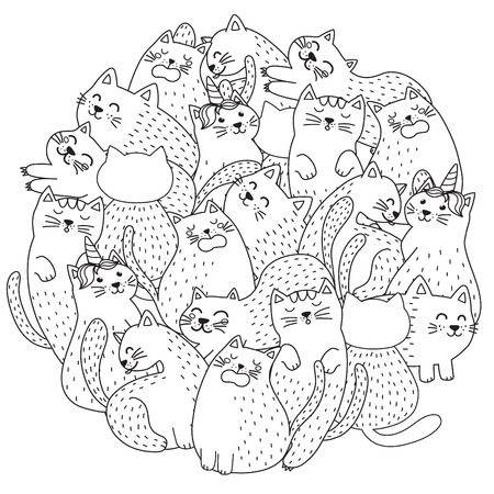 Doodle cute cats coloring page. Funny circle shape print. Vector illustration