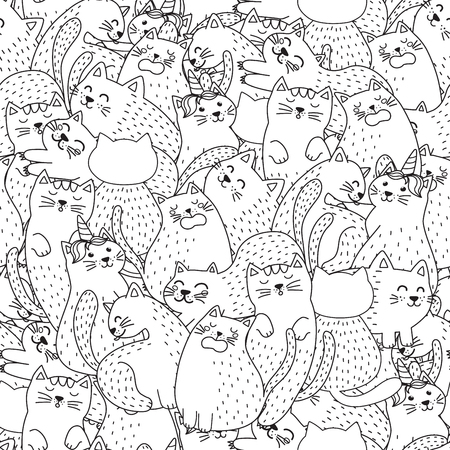 Funny cats black and white seamless pattern. Great for  coloring page, prints, backgrounds, textile and fabric. Vector illustration Ilustrace