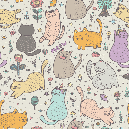 Lovely cats in flowers and plants. Cute childish seamless pattern. Vector illustration