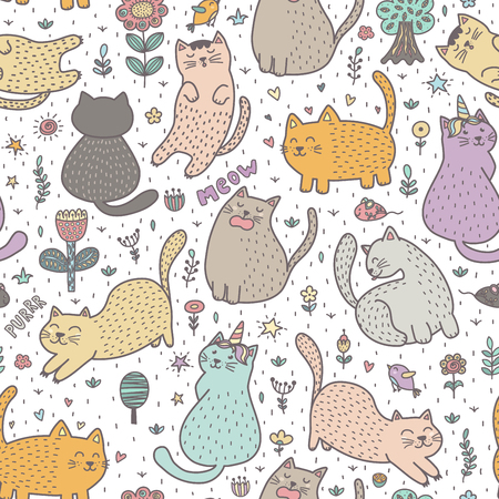 Cute cats in the summer seamless pattern. Great for cards, invitations, fabric and textile. Vector illustration