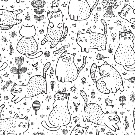 Cute cats in the summer seamless pattern. Black and white doodle background. Great for coloring book. Vector illustration Reklamní fotografie - 122049112