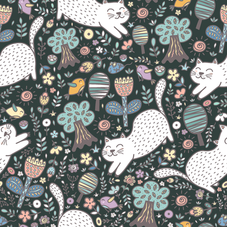 Cute cat in the forest seamless pattern. Funny summer background. Vector illustration Reklamní fotografie - 122049115