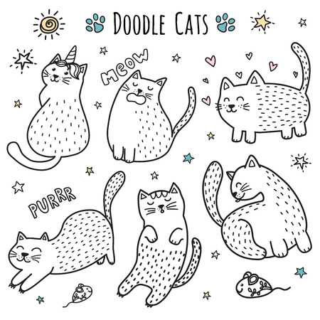 Cute hand drawn doodle cats. Funny kittens collection. Vector illustration Standard-Bild - 122049116