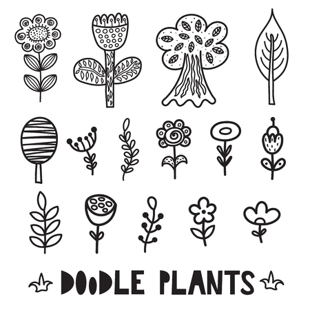 Black and white doodle plants and flowers elements. Cute floral collection. Vector illustration Ilustrace