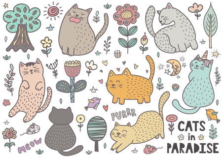 Cute cats collection with mouses, birds, trees, flowers and plants. Funny characters in different poses. Vector illustration