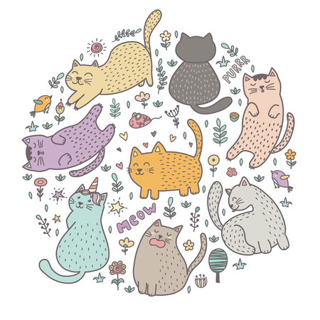 Circle shape print with cute cats. Funny pattern great for t-shirts, bags, fabric and textile. Vector illustration