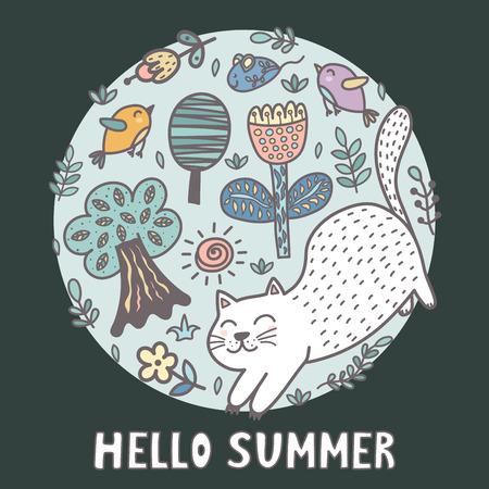 Hello summer print with a cute cat. Funny card. Vector illustration Reklamní fotografie - 122049123