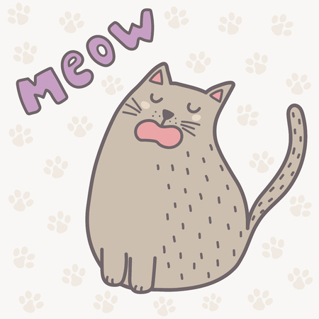 Cute cat saying meow print. Funny card for children. Vector illustration
