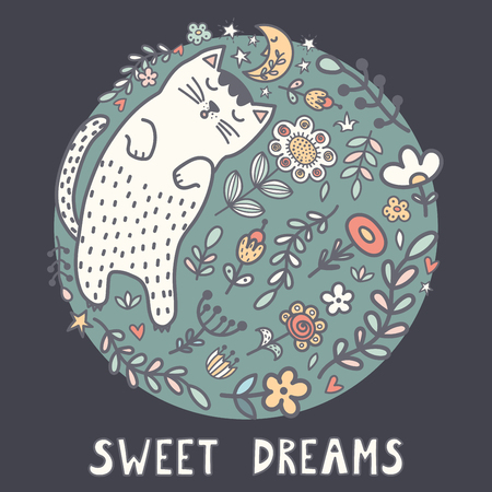 Sweet dreams card with a cute sleeping cat in the plants. Vector illustration Reklamní fotografie - 122049127
