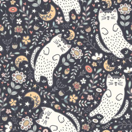 Adorabile motivo senza cuciture con un simpatico gatto che dorme nelle piante. Buona notte sfondo. Illustrazione vettoriale