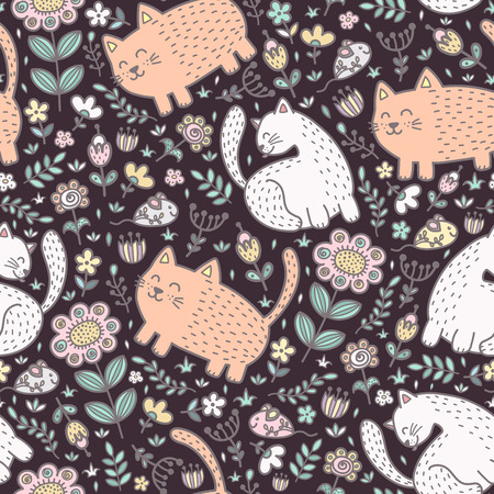 Seamless pattern with cute cats and flowers. Vector illustration Reklamní fotografie - 122049129