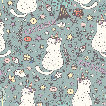 Cat unicorn magic seamless pattern. Cute caticorn background. Vector illustration Reklamní fotografie - 122049130