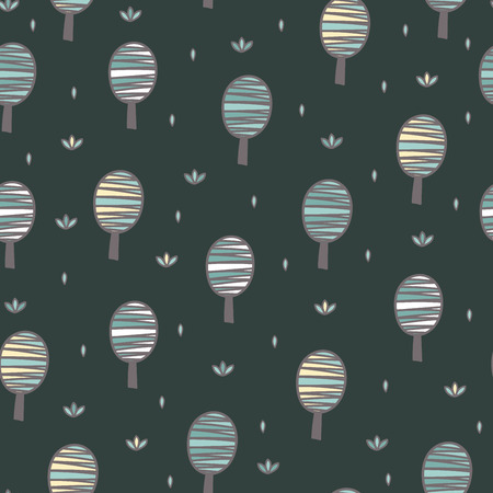 Cute trees seamless pattern. Forest background. Vector illustration Reklamní fotografie - 122049132