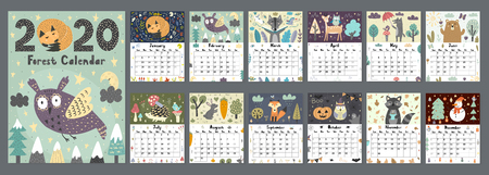 Forest calendar for 2020 year. Printable planner of 12 months with cute animals. SIze 8,5x11 inches. Vector illustration Ilustrace
