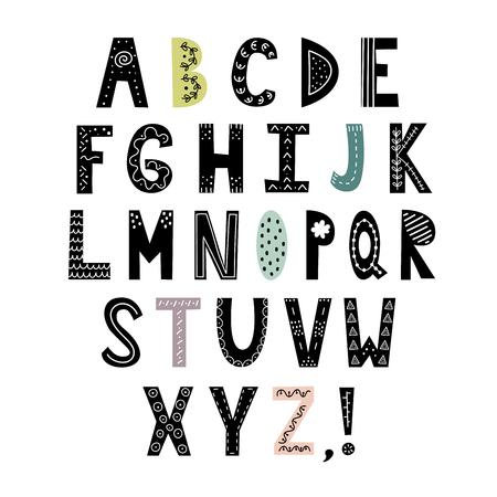 Alfabet w stylu skandynawskim. Ręcznie rysowane litery, stylowe abc. Ilustracja wektorowa