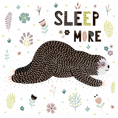 Sleep More card with a cute sleeping sloth. Funny print great for t-shirt or poster design. Vector illustration Ilustrace
