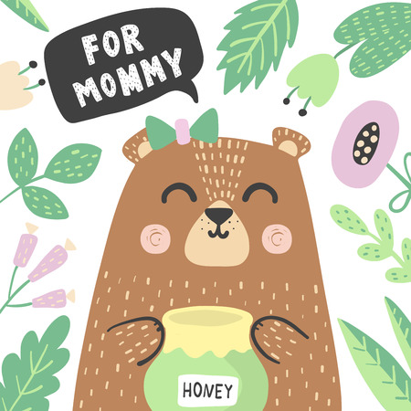 For mommy print with super cute baby bear. Happy Mothers Day cards. Vector illustration