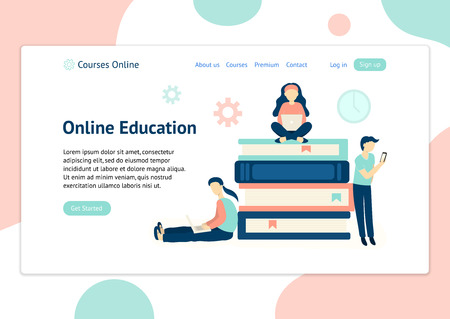 Header template for website with people learning with different devices. Online education vector theme