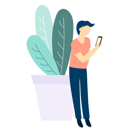 Man with mobile phone and plant. Flat style vector illustration