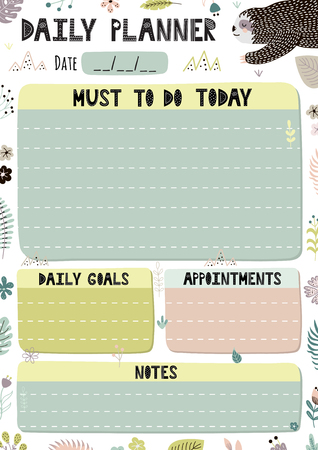 Colorful Daily Planner Template. Cartoon organizer in A4 format. Vector illustration