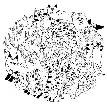 Circle coloring page with mothers and their babies animals.