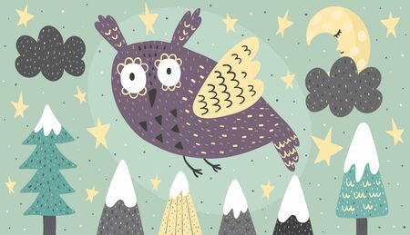 Banner with a fantasy owl flying at night. Vector illustration Illustration